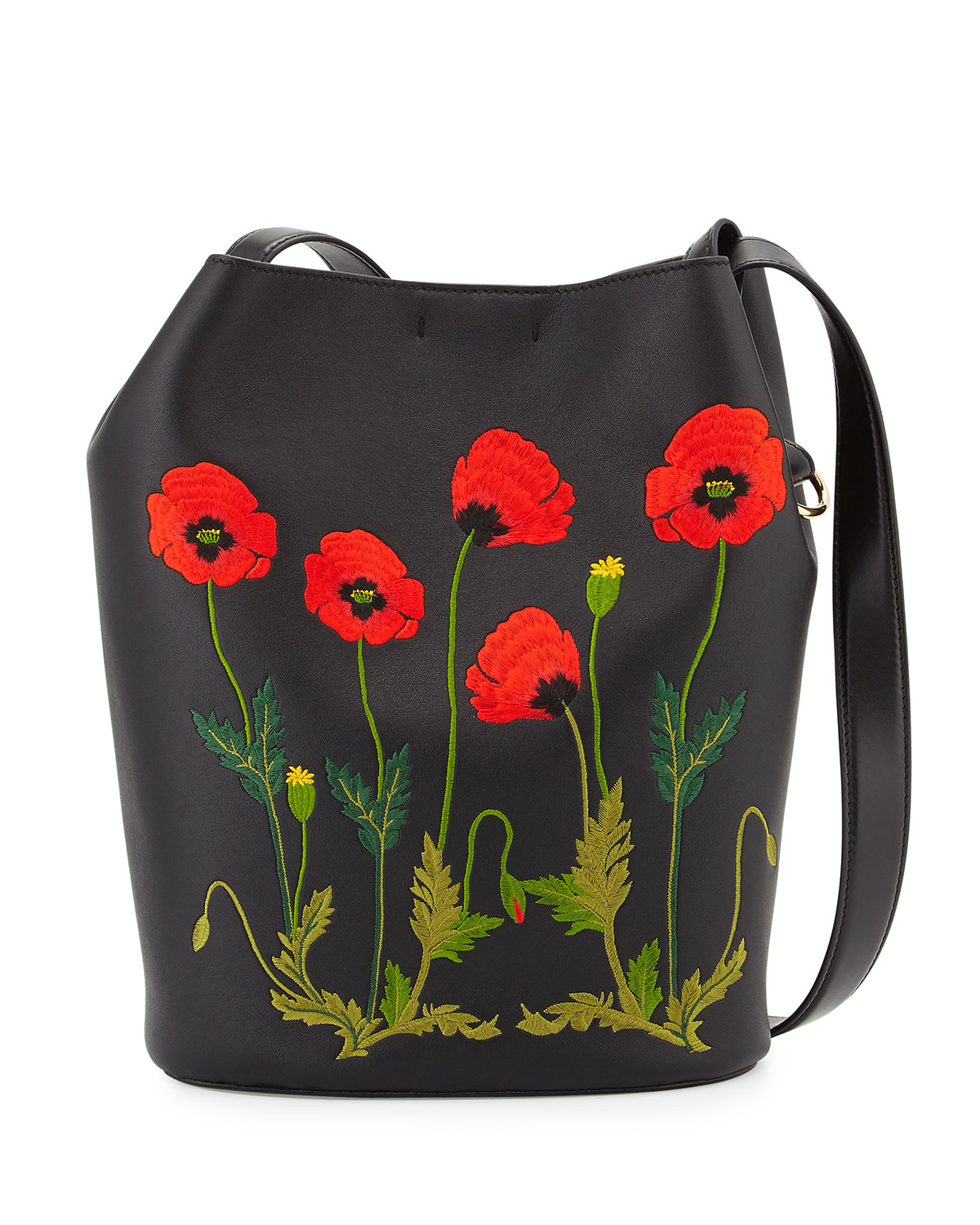 Stella Mccartney Embroidered FauxLeather Bucket Bag In