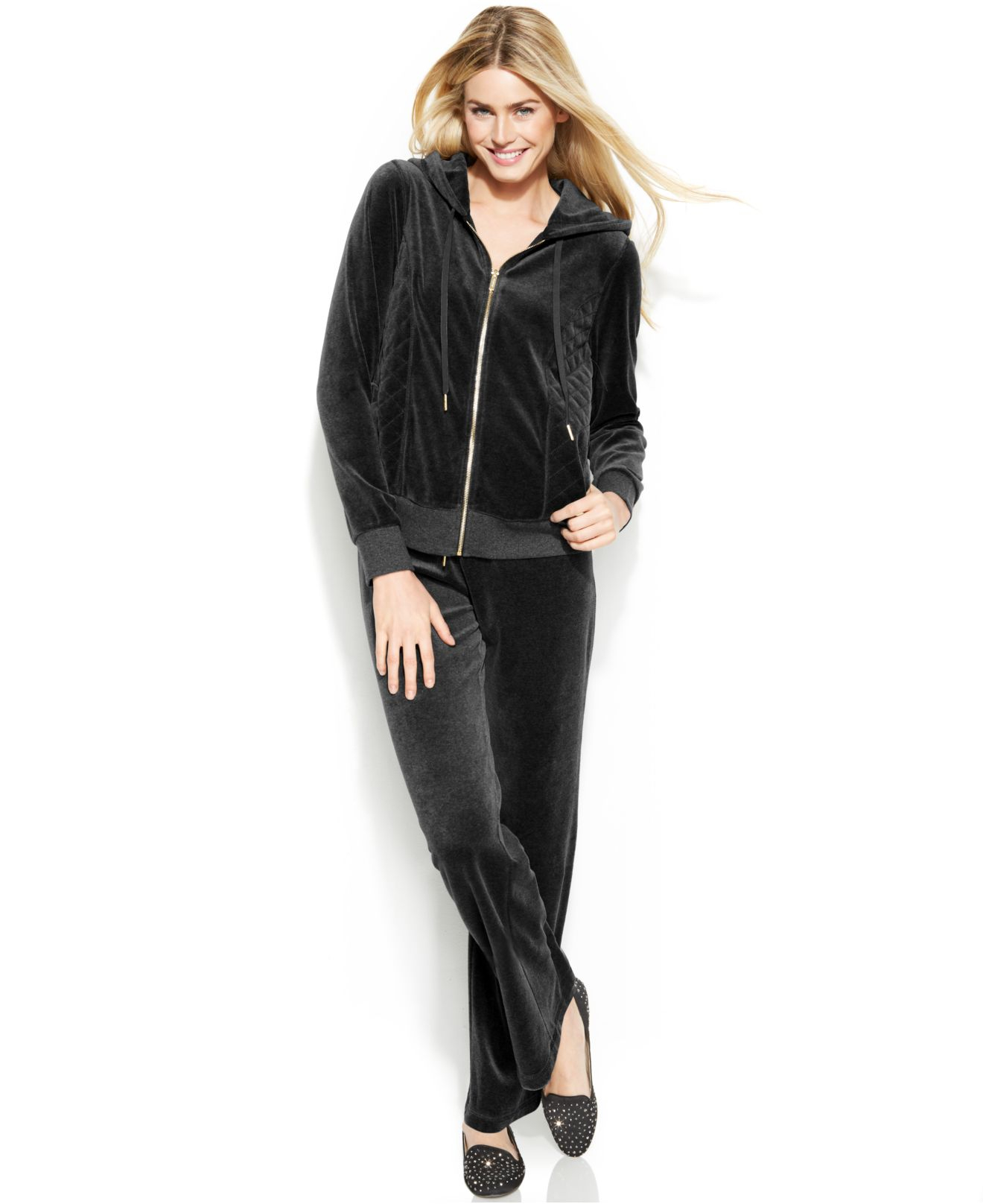 6c3b8a4a1f3 Lyst - Calvin Klein Zip-Front Velour Hooded Jacket in Black