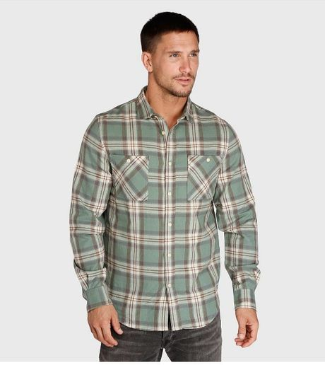 Threads 4 thought slim fit flannel shirt in green for men for Mens slim fit flannel shirt