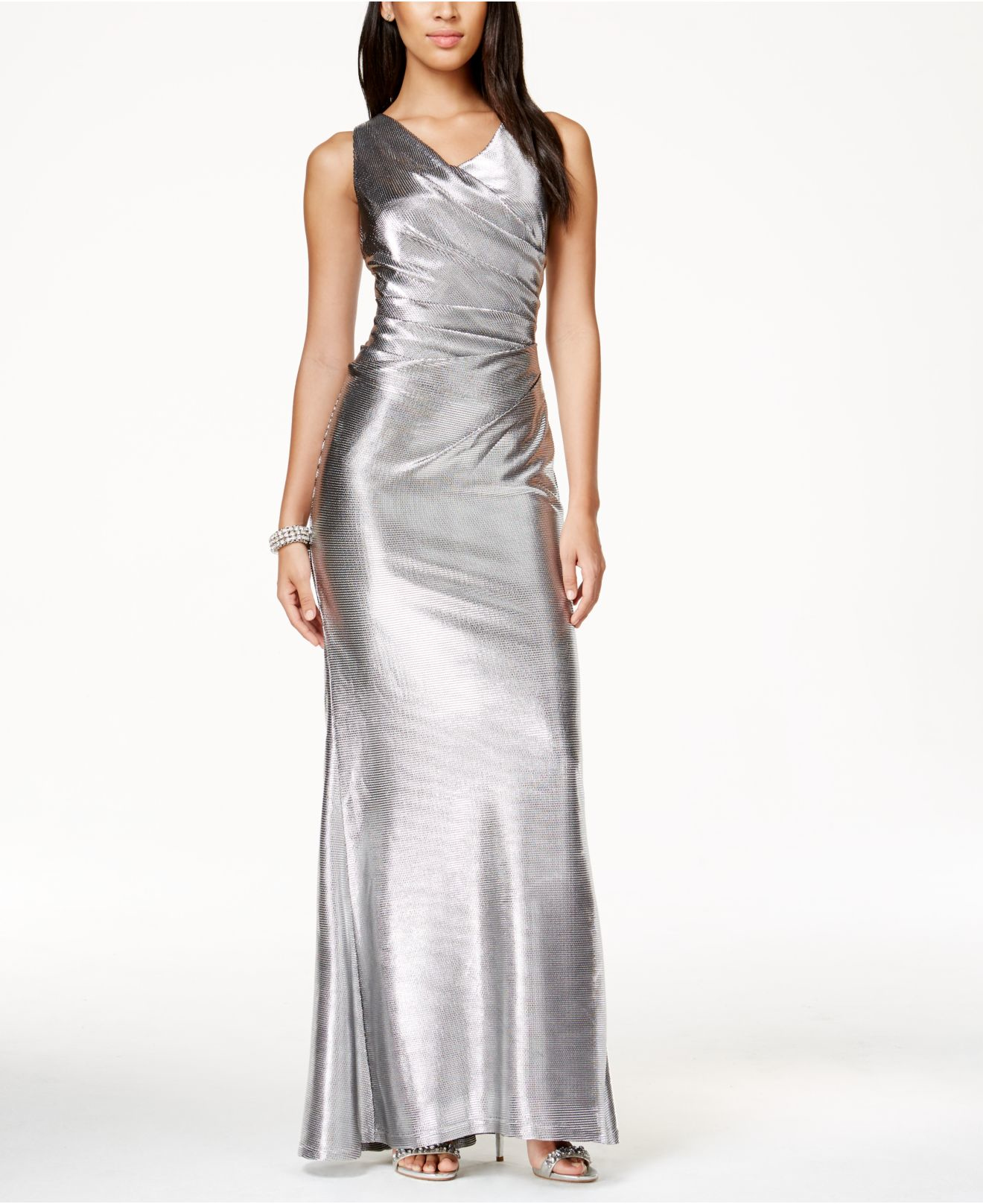Vince Camuto Sleeveless Metallic Gown In Metallic Lyst