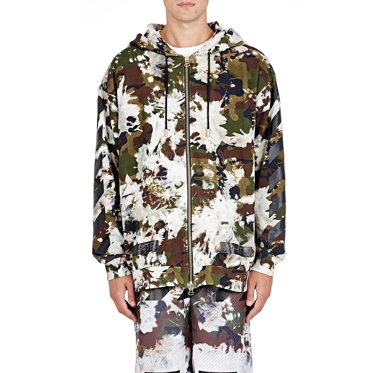 8fbc0d647ab6 Lyst - Off-White c o Virgil Abloh Men s Camouflage Zip-front Hoodie ...