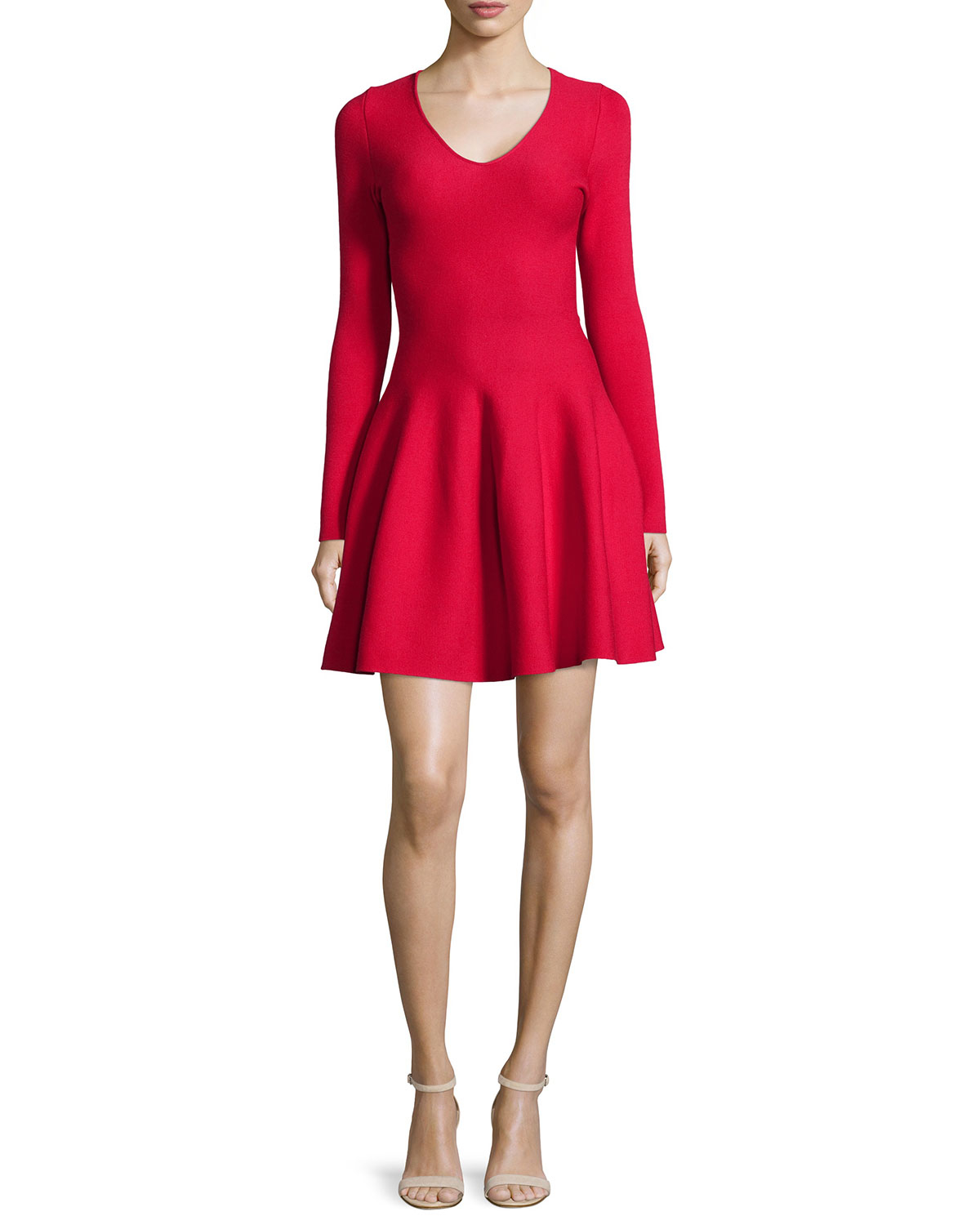 Lyst Rvn Long Sleeve Fit Amp Flare Dress In Red