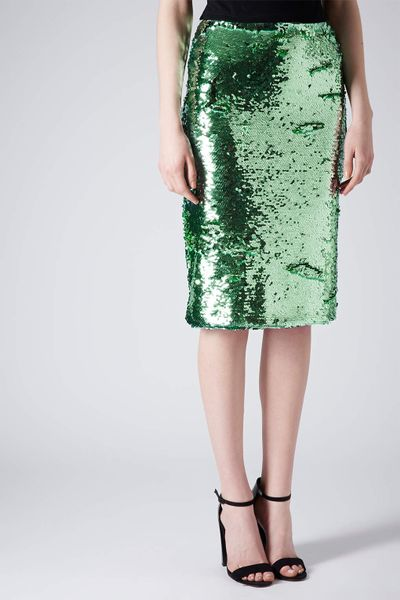 topshop mint sequin pencil skirt in green mint lyst