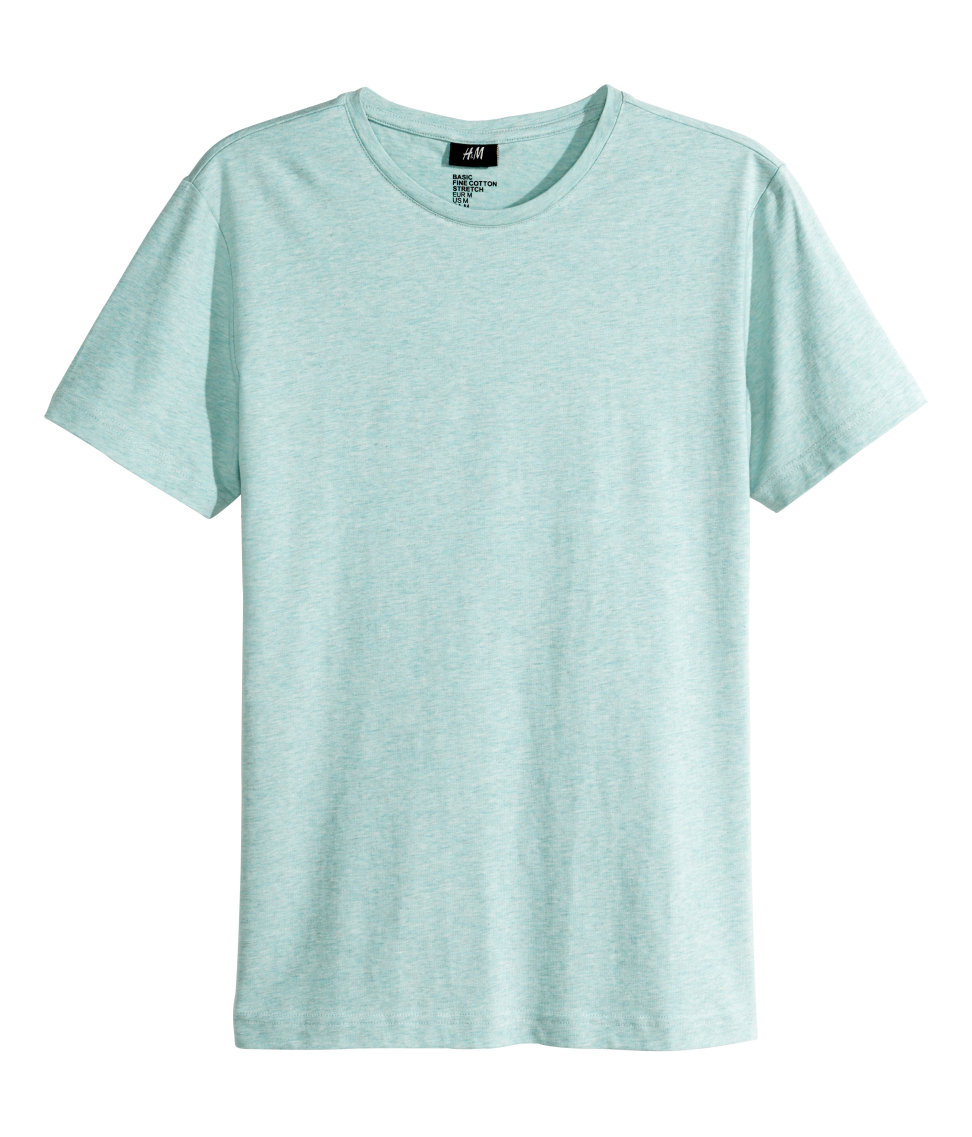H m stretch t shirt in blue for men lyst for Bear river workwear shirts