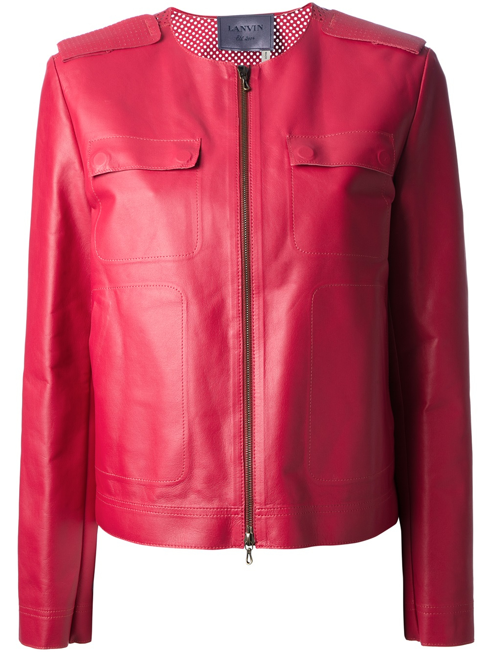 Lanvin Collarless Jacket in Red | Lyst