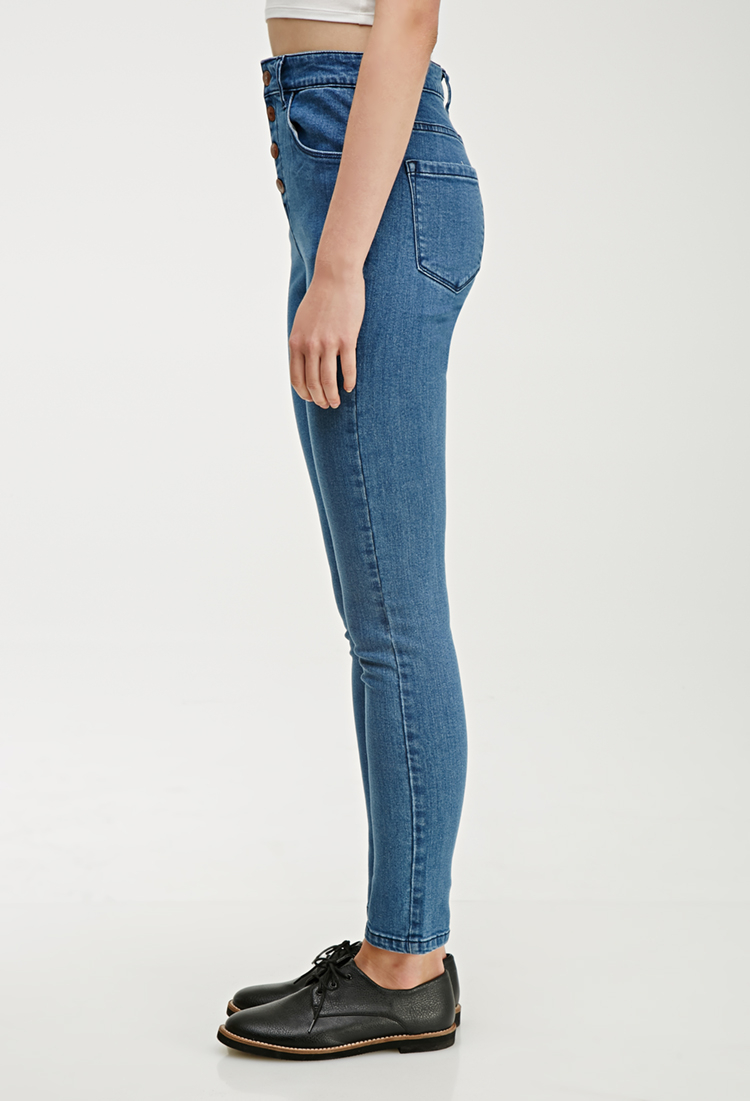 lyst forever 21 high waisted skinny jeans in blue. Black Bedroom Furniture Sets. Home Design Ideas