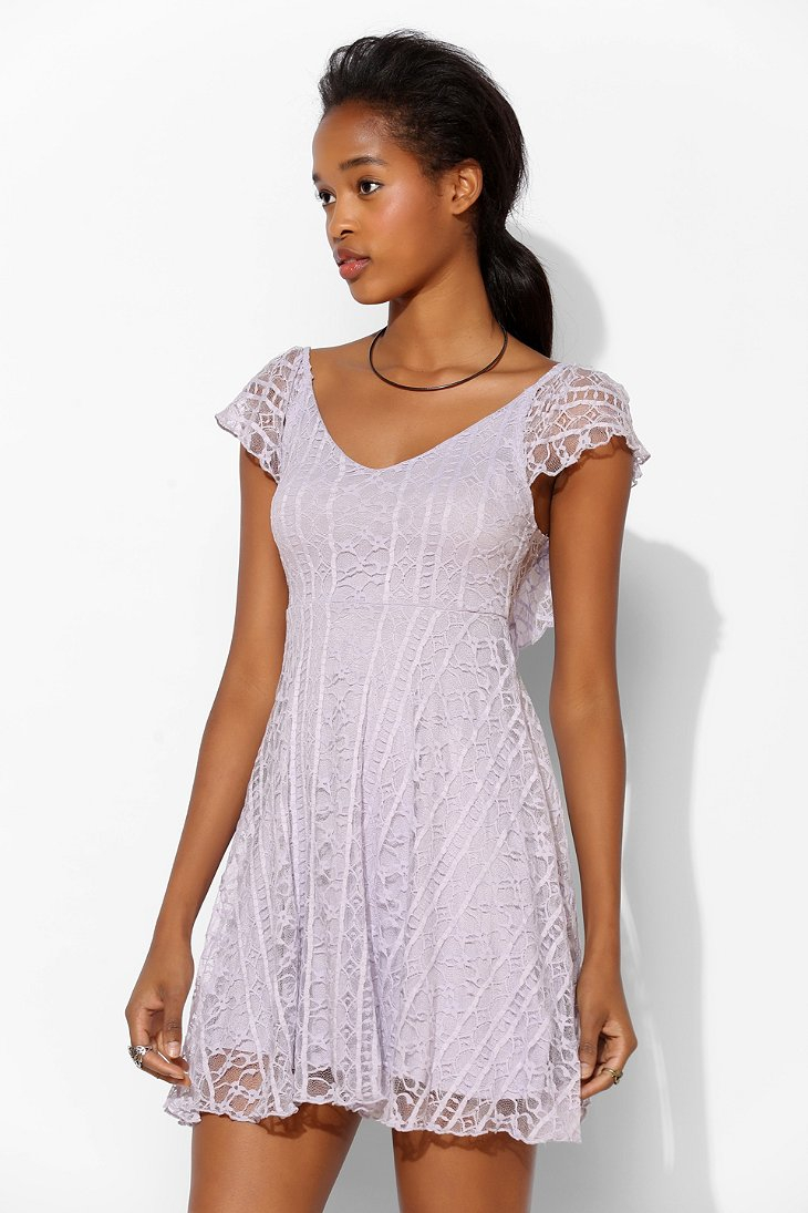 Kimchi blue valencia lace flutter back dress in purple - Urban outfitters valencia ...