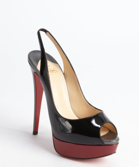 christian louboutin leather rounded-toe pumps