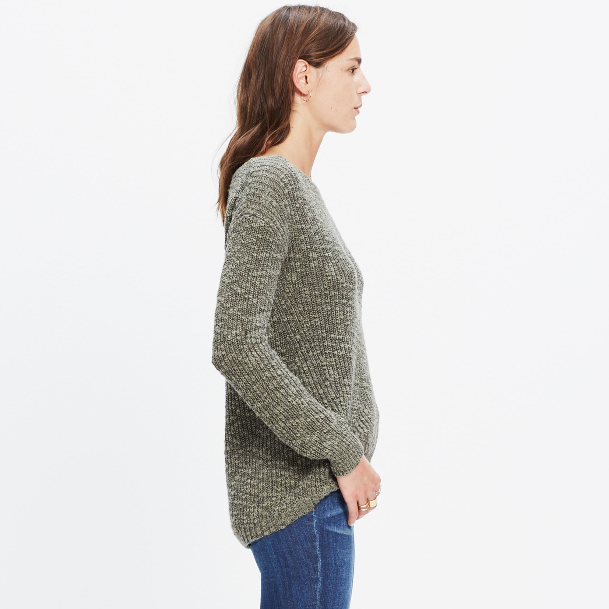 Madewell Leftbank Pullover Sweater in Green | Lyst