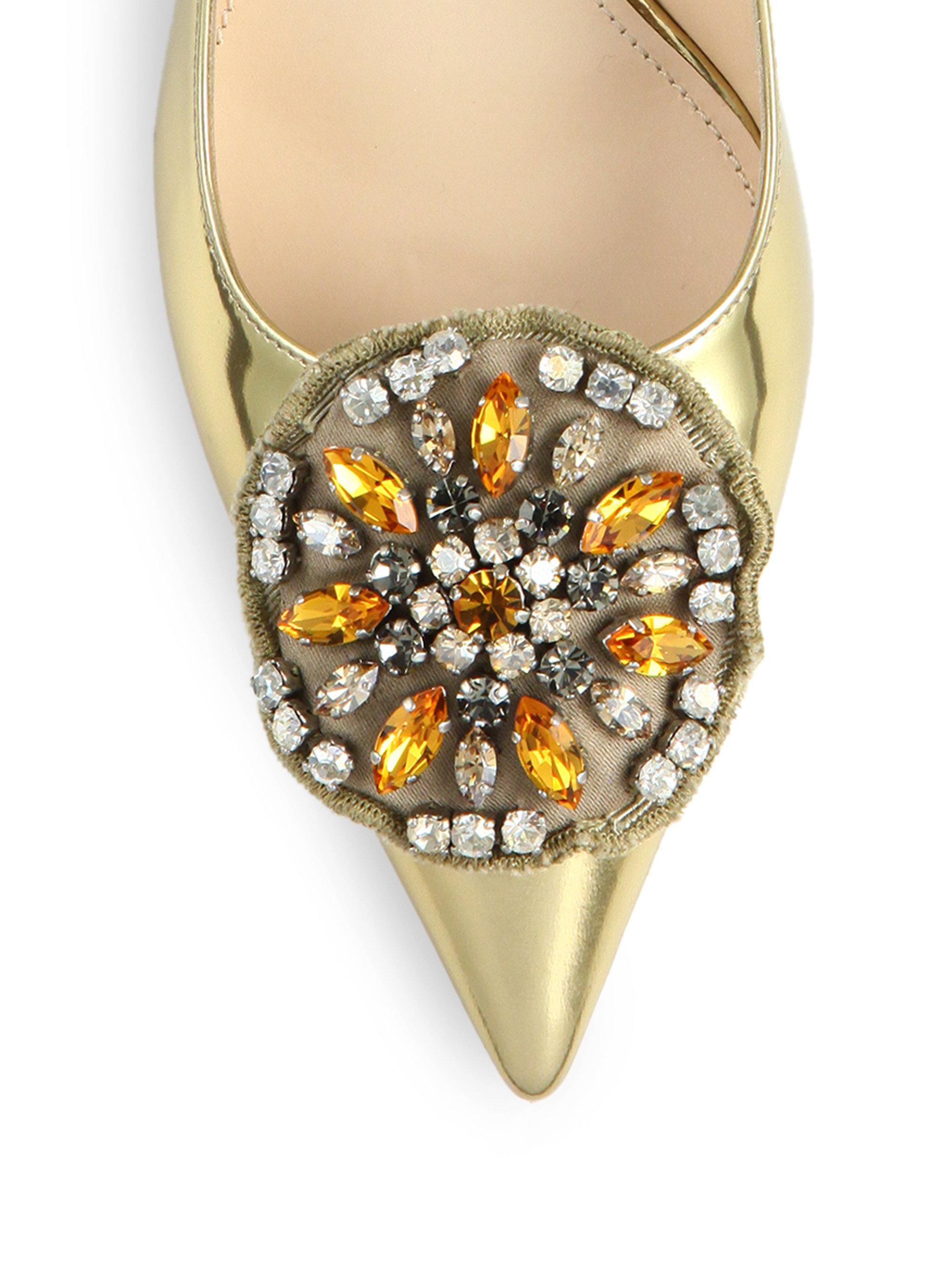 Prada Brooch-detail Metallic Patent Leather Curved-heel Pumps in ...