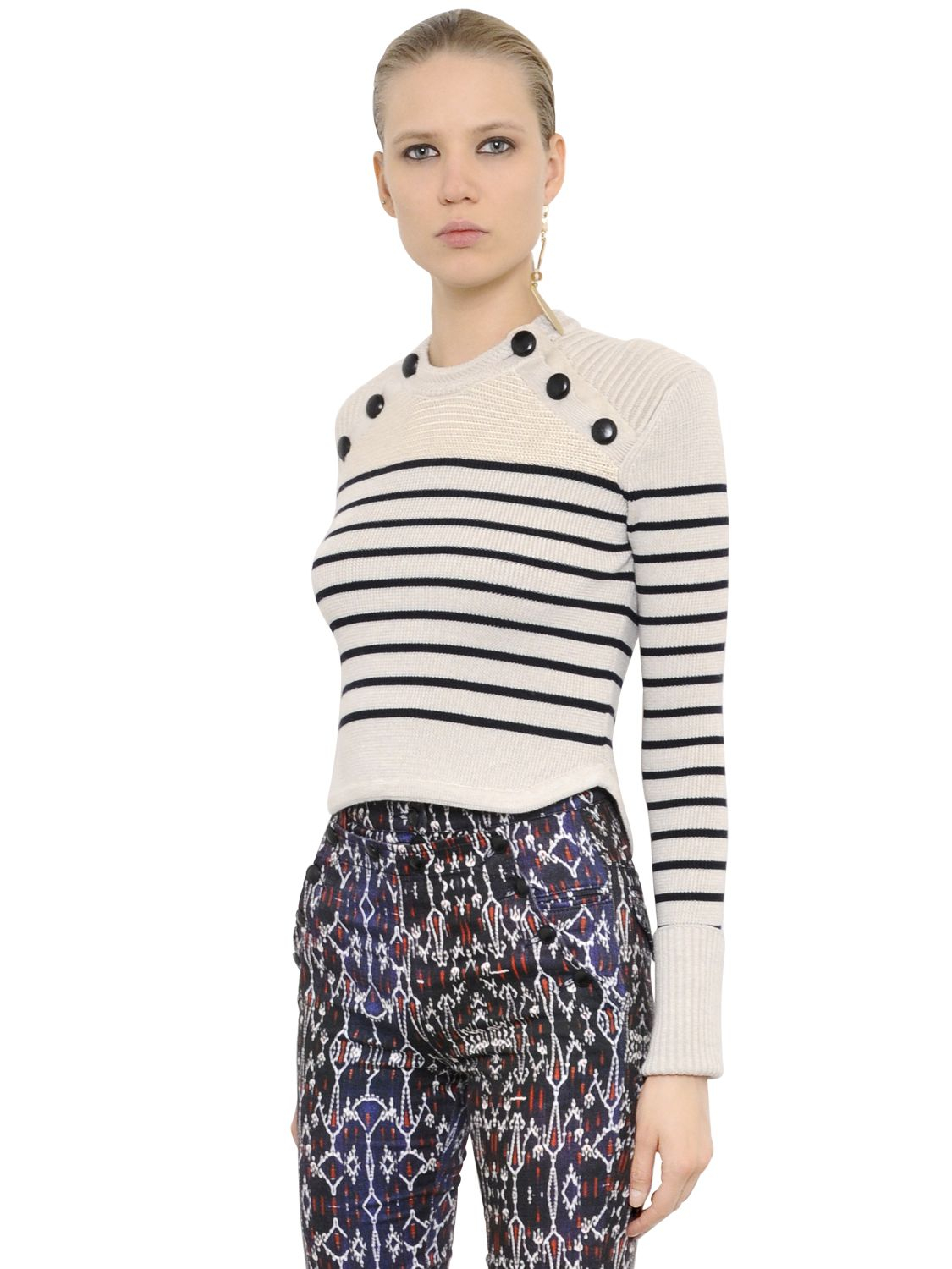 Isabel marant Cropped Striped Wool Rib Knit Sweater in Natural | Lyst