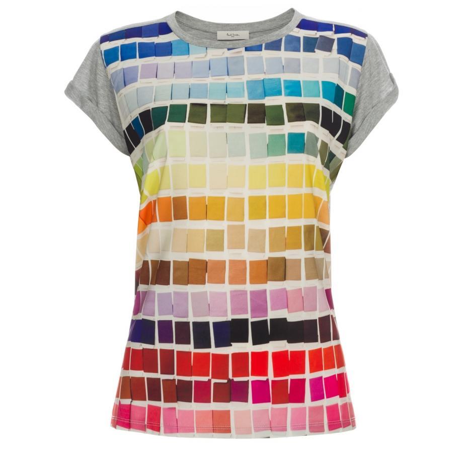 Paul smith women 39 s grey 39 colour chart 39 print t shirt lyst for Colour t shirt printing