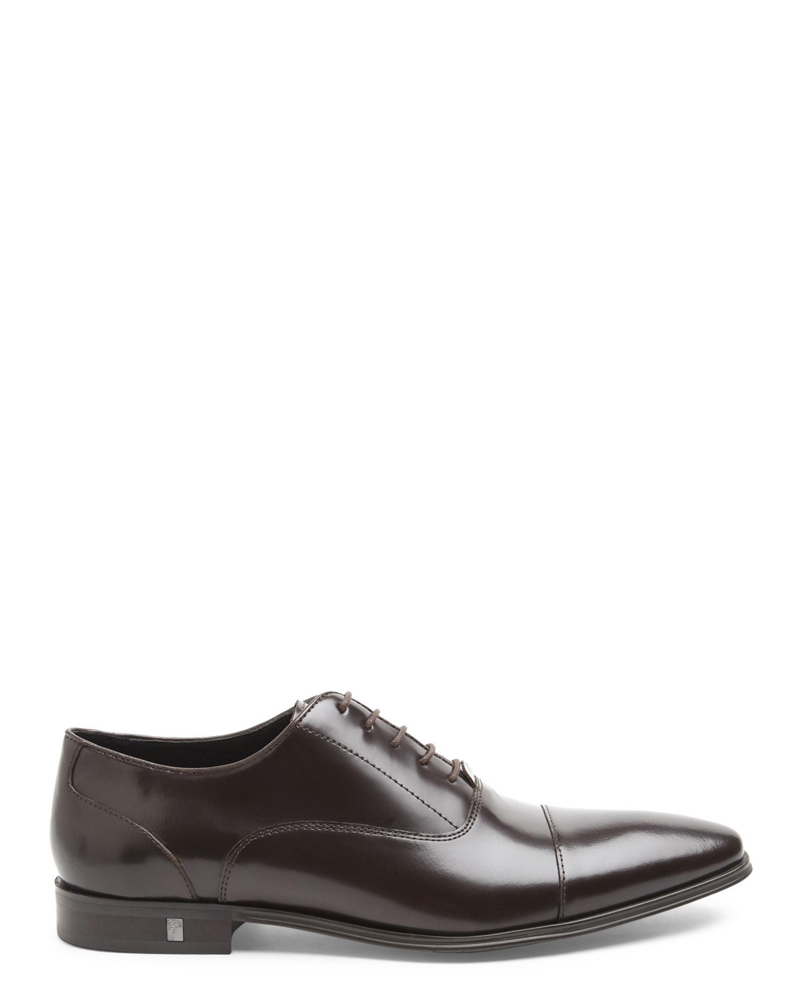 379475aae47 Lyst - Versace Dark Brown Cap Toe Oxfords in Brown for Men