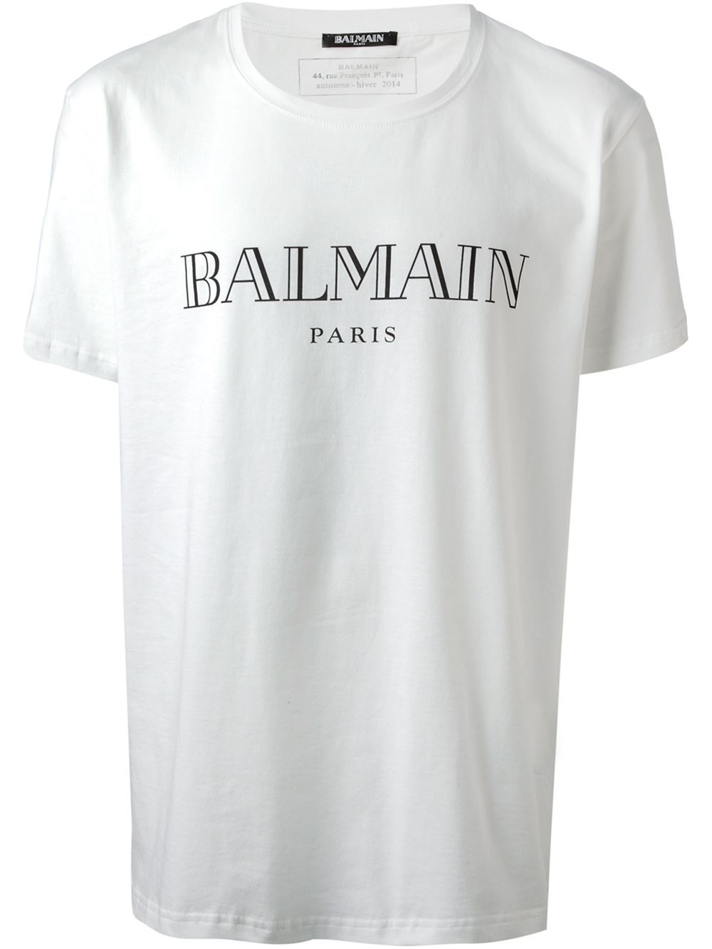 balmain logo print t shirt in white for men lyst. Black Bedroom Furniture Sets. Home Design Ideas