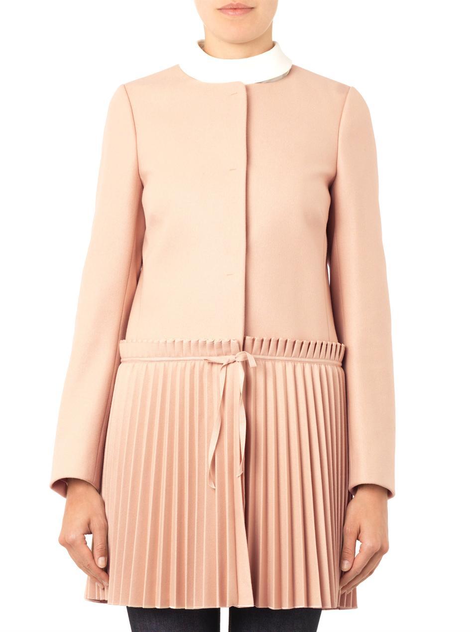 valentino pleatedskirt coat in pink lyst