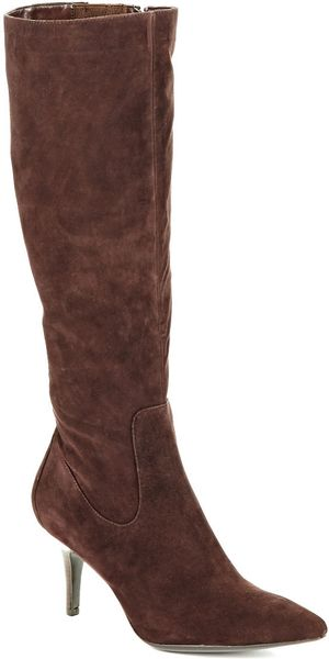 calvin klein raylie kid suede boots in brown lyst