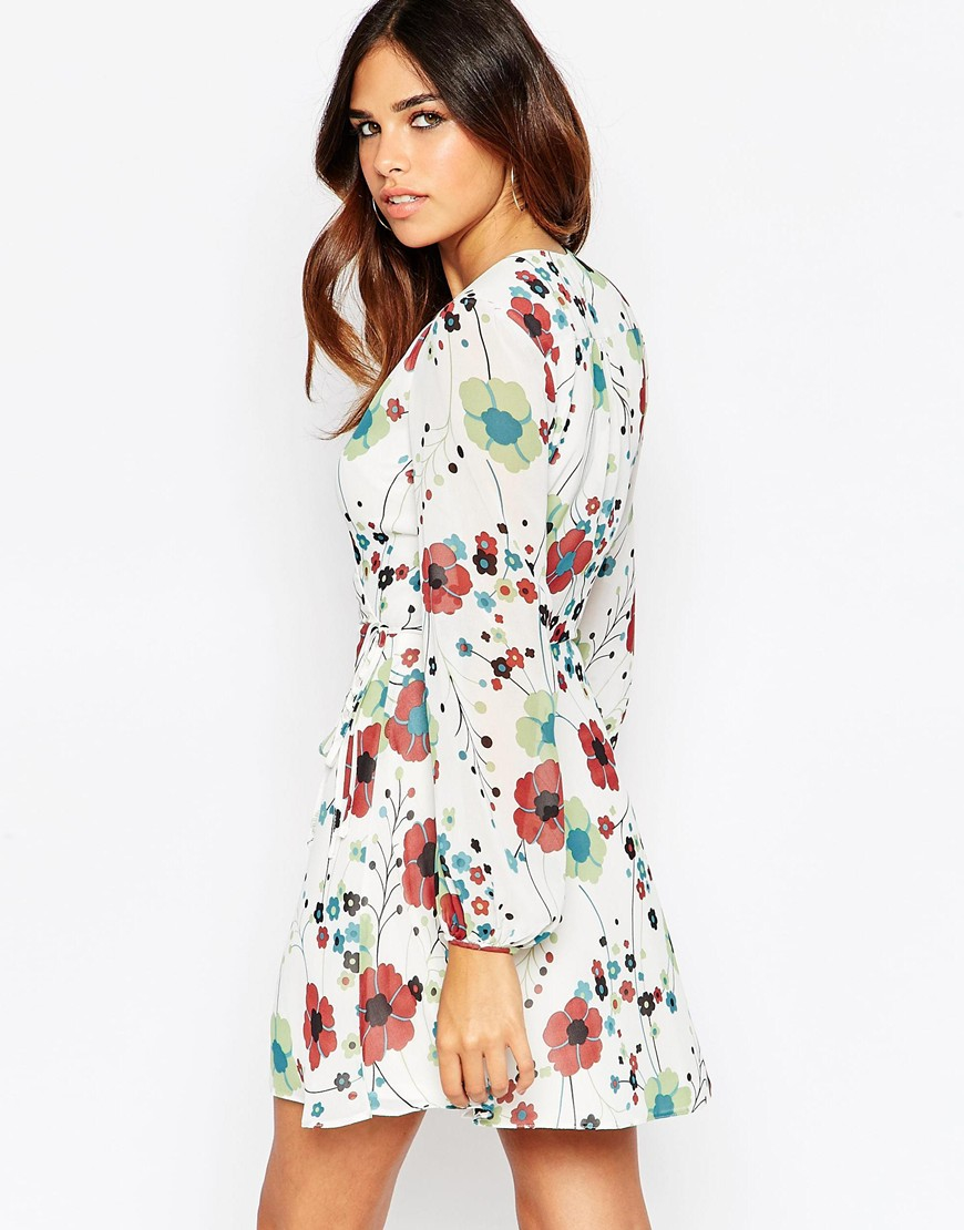 42c71b8655a Turmec » asos wrap dress with tulip skirt and long sleeves in floral ...