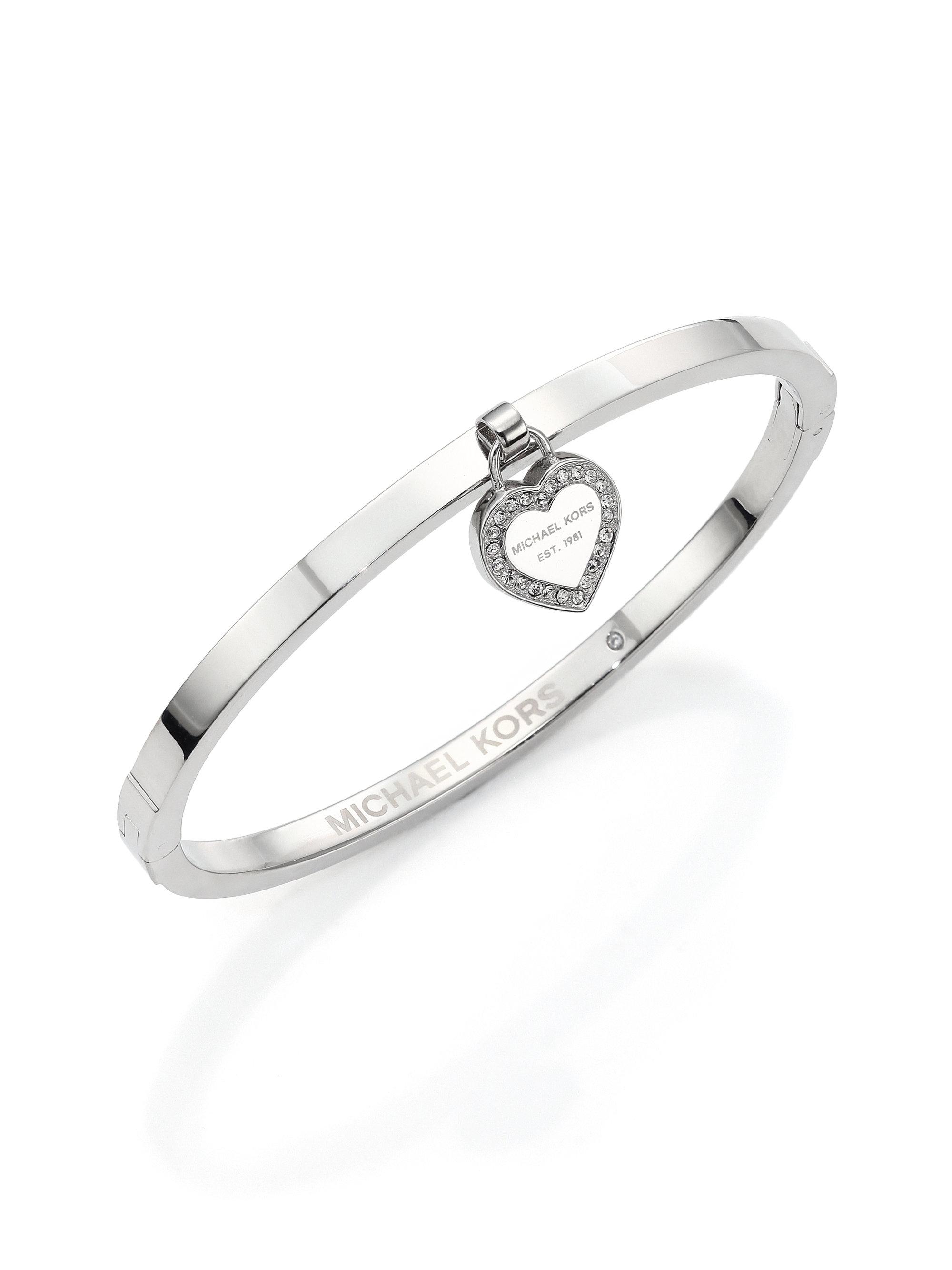 michael kors heritage logo heart charm bangle bracelet. Black Bedroom Furniture Sets. Home Design Ideas