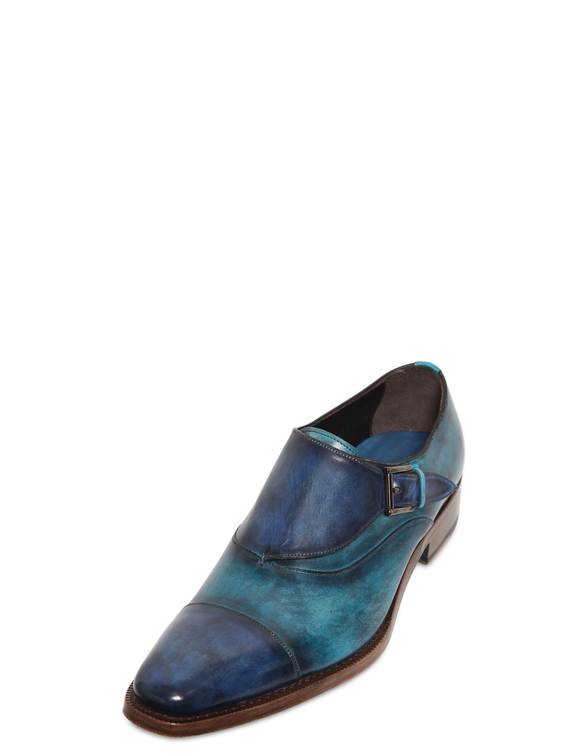 harris two tone leather monk shoes in blue for