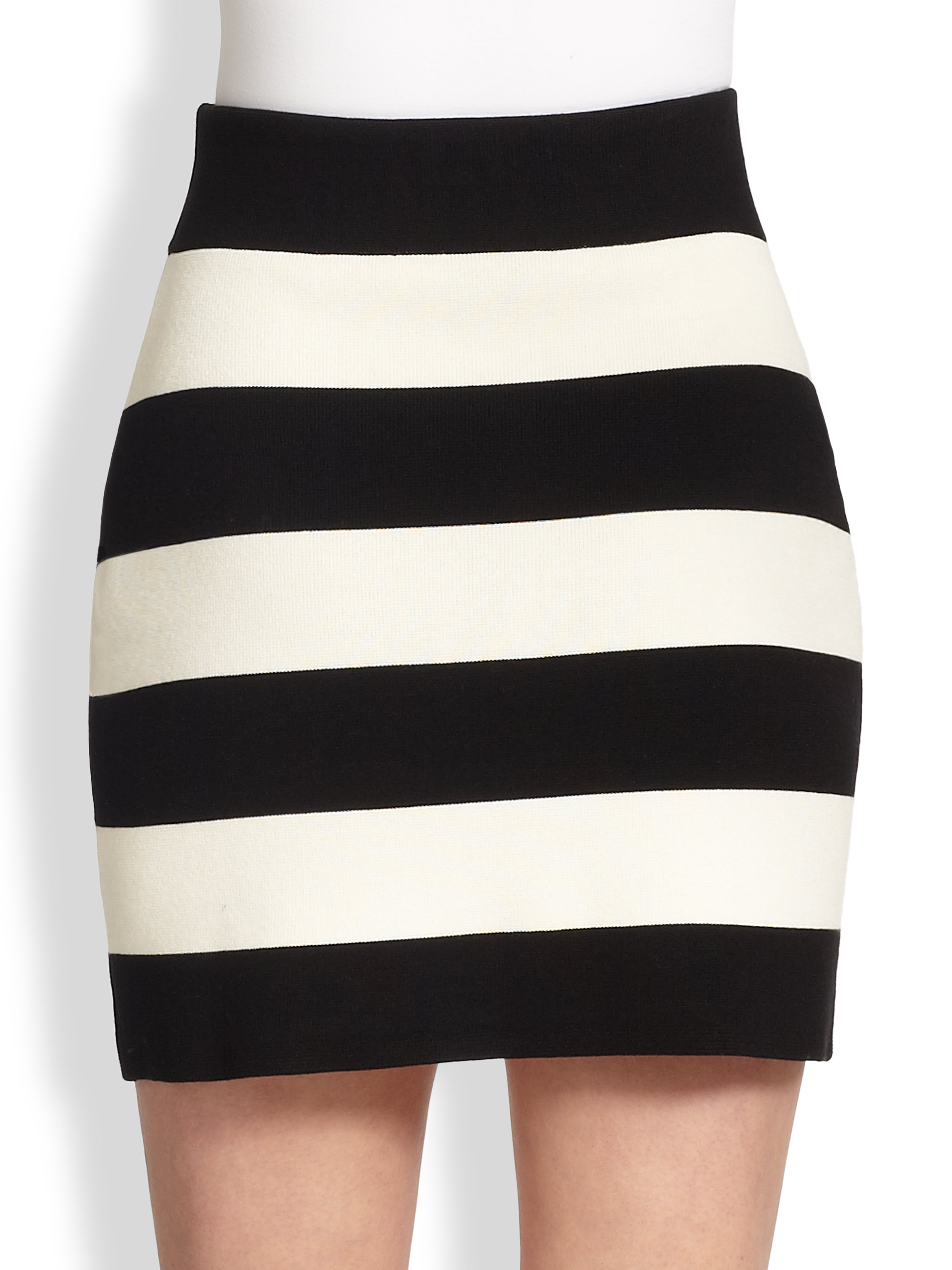 Theory Prosecco Striped Stretch Knit Mini Skirt in Black | Lyst