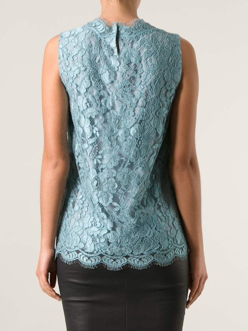 lyst dolce amp gabbana sleeveless lace top in blue