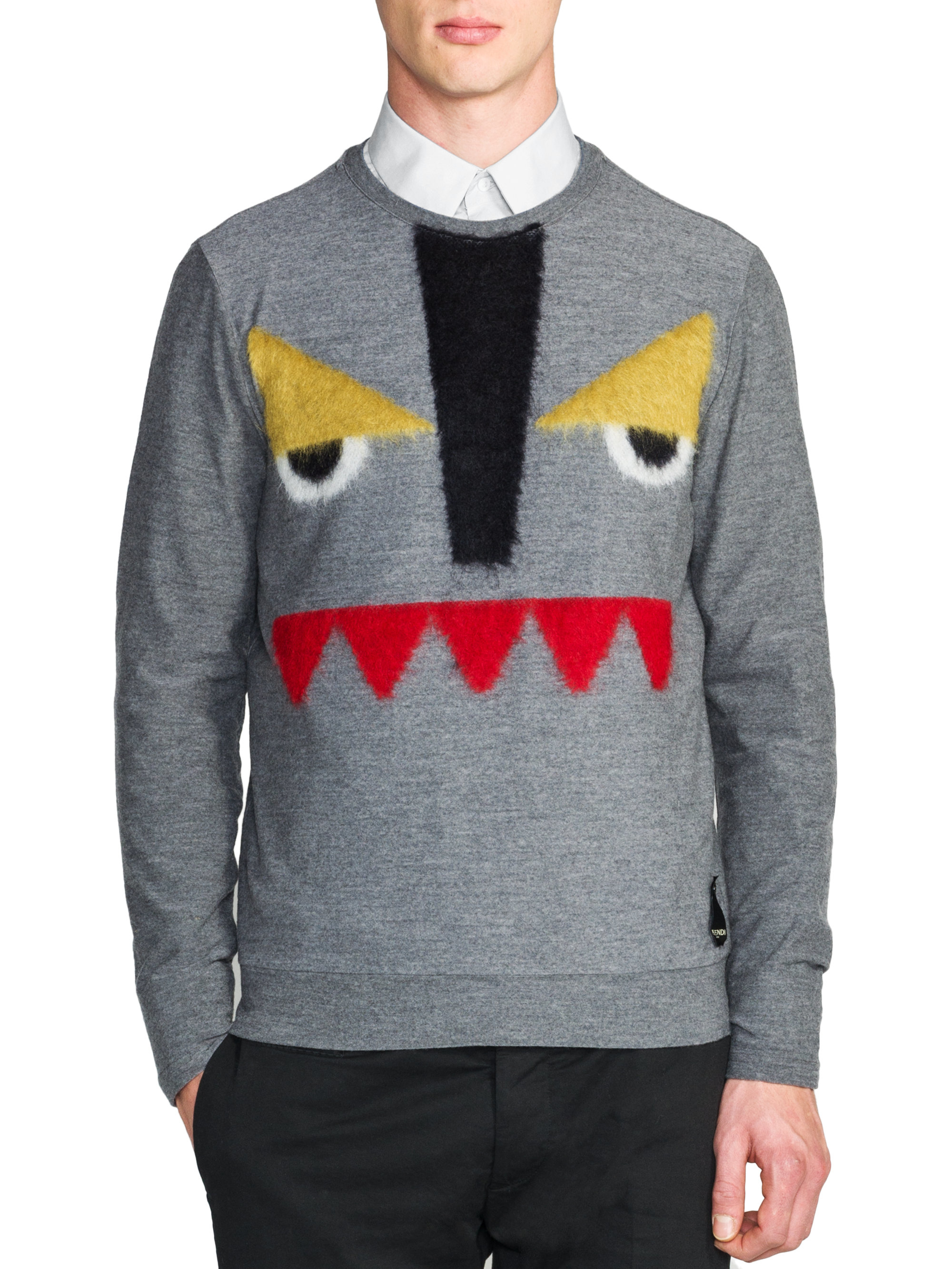 Lyst - Fendi Monster Crewneck Sweater in Gray for Men 35304f156ceb8