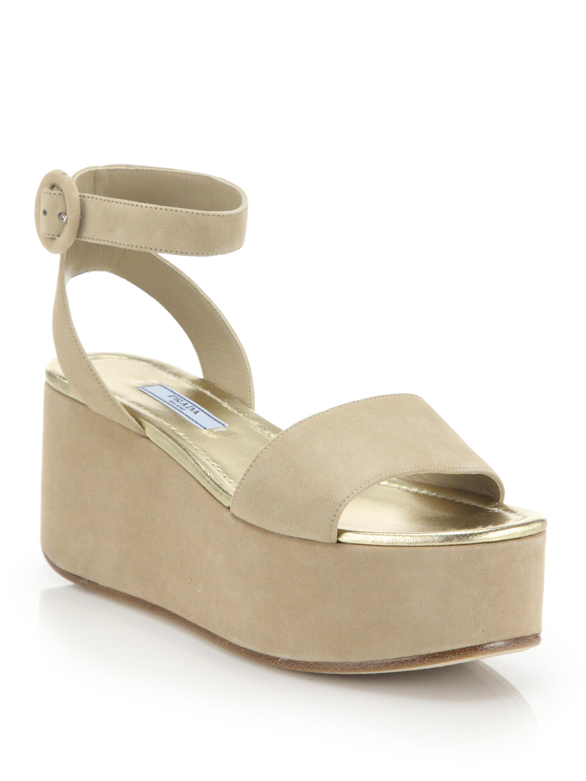 Lyst - Prada Suede Platform Wedge Sandals in Natural