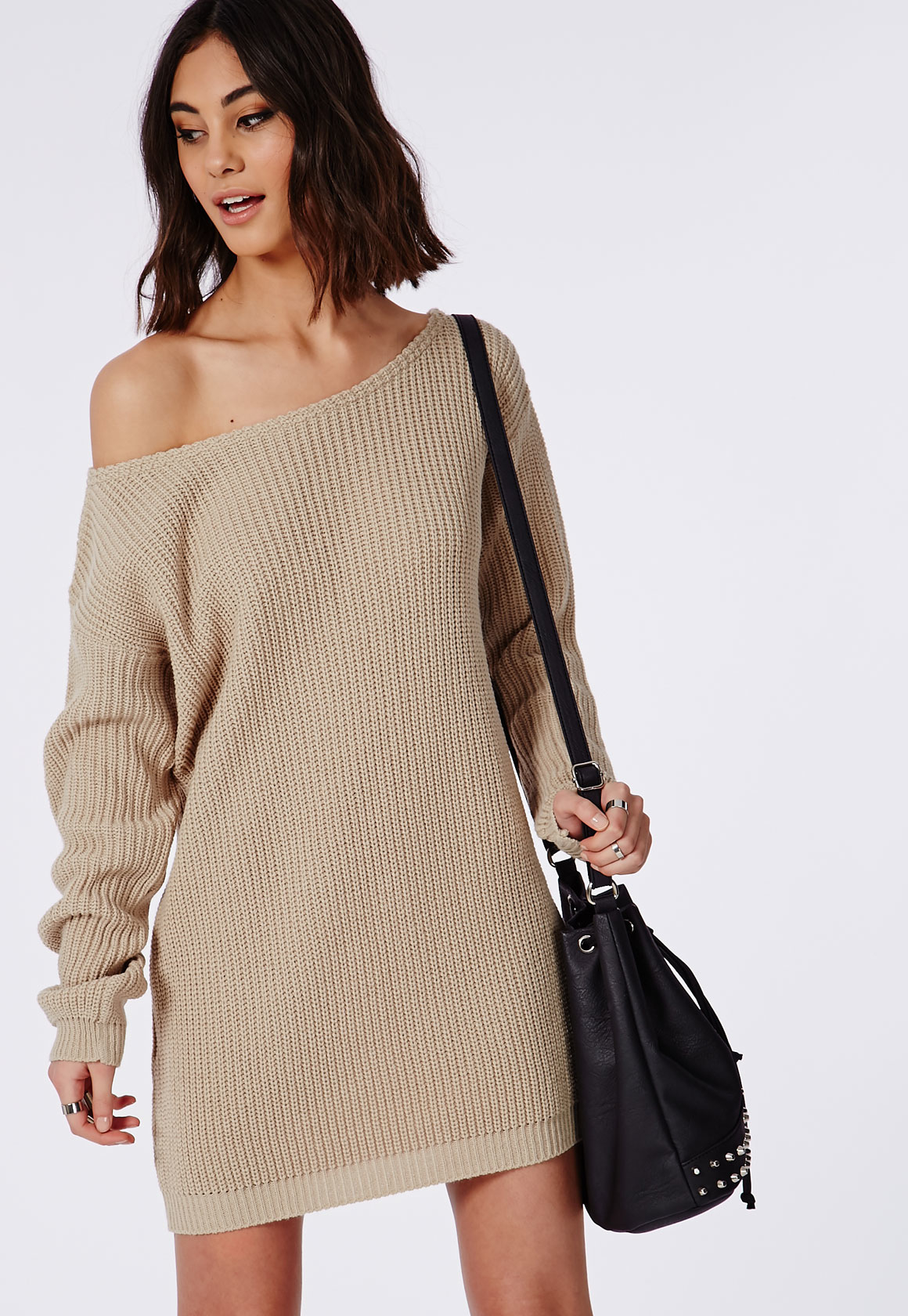 b79870f56a46 Lyst - Missguided Ayvan Off Shoulder Knitted Sweater Dress Light ...