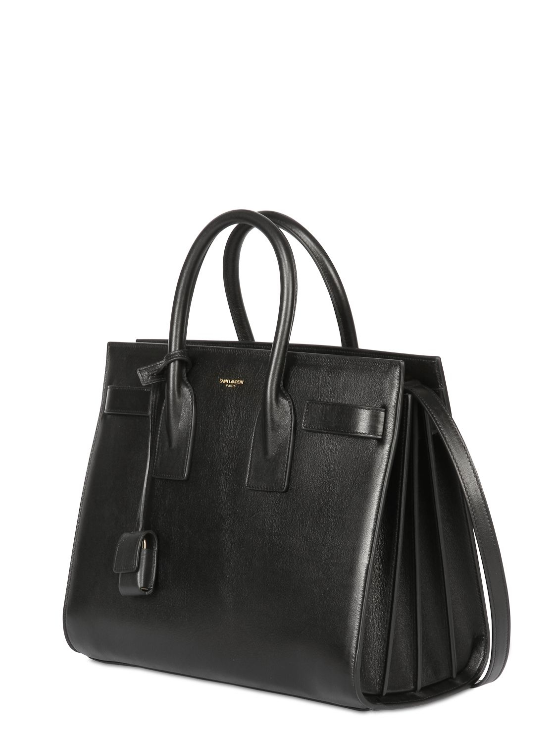 yves saint laurent leather handbag - classic small sac de jour bag in black suede and leather