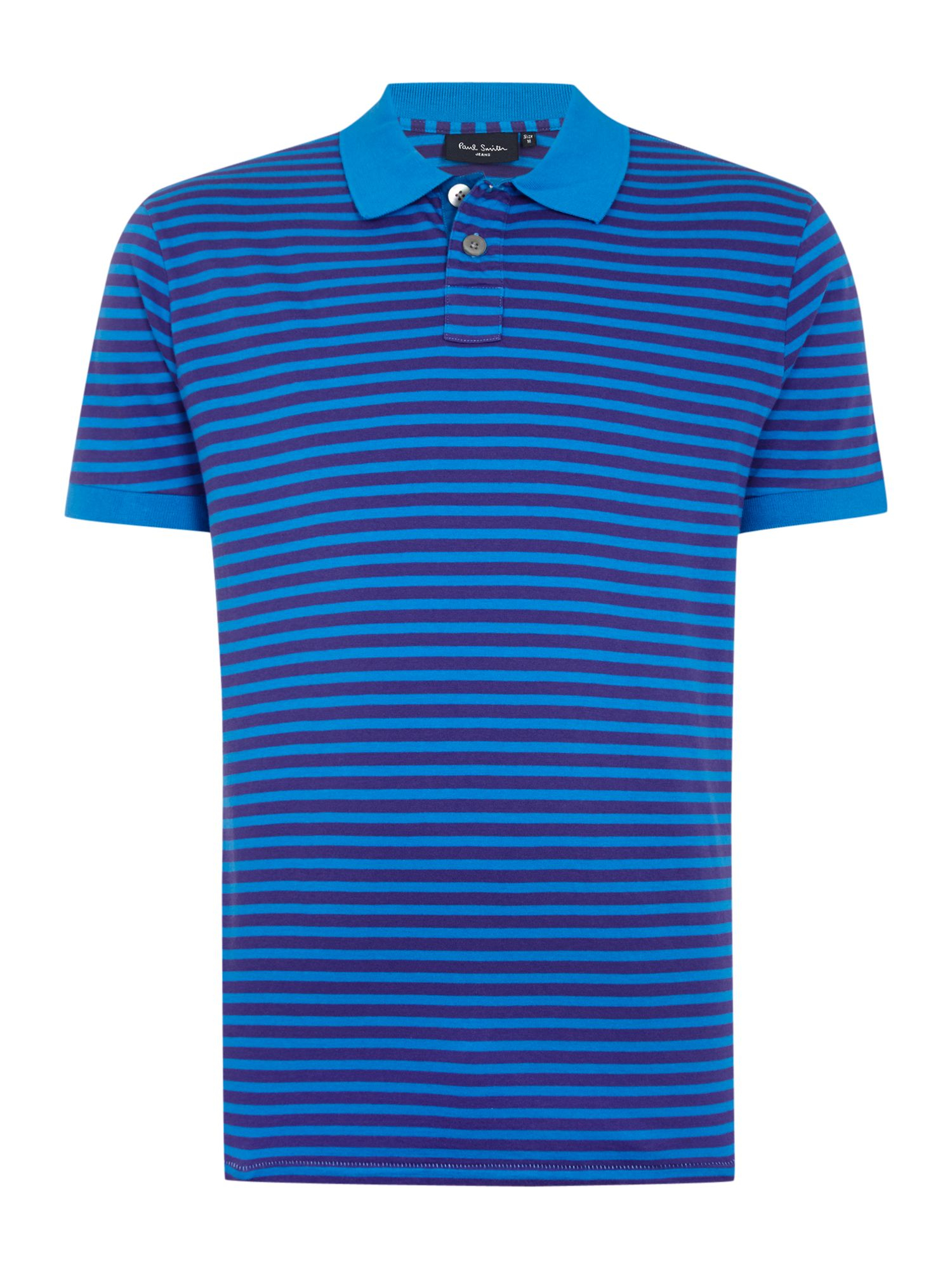 Paul smith regular fit striped polo shirt in purple for for Purple and black striped t shirt