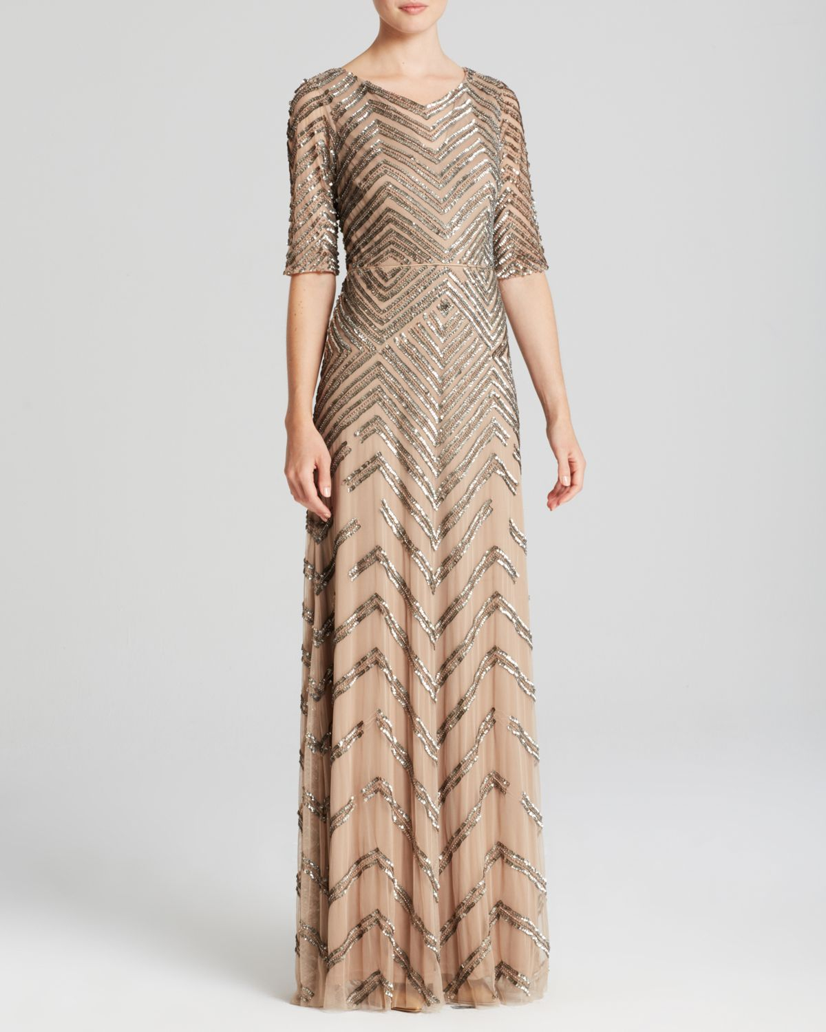 Lyst - Adrianna Papell Elbow Sleeve Chevron Sequin Illusion Gown ...