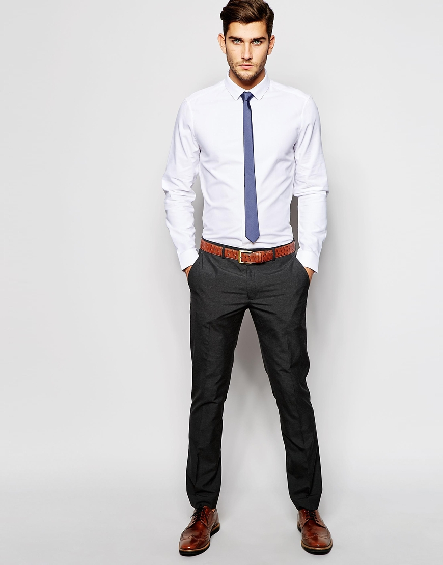 Lyst asos oxford shirt and textured tie set save 21 in for Shirt and tie for men