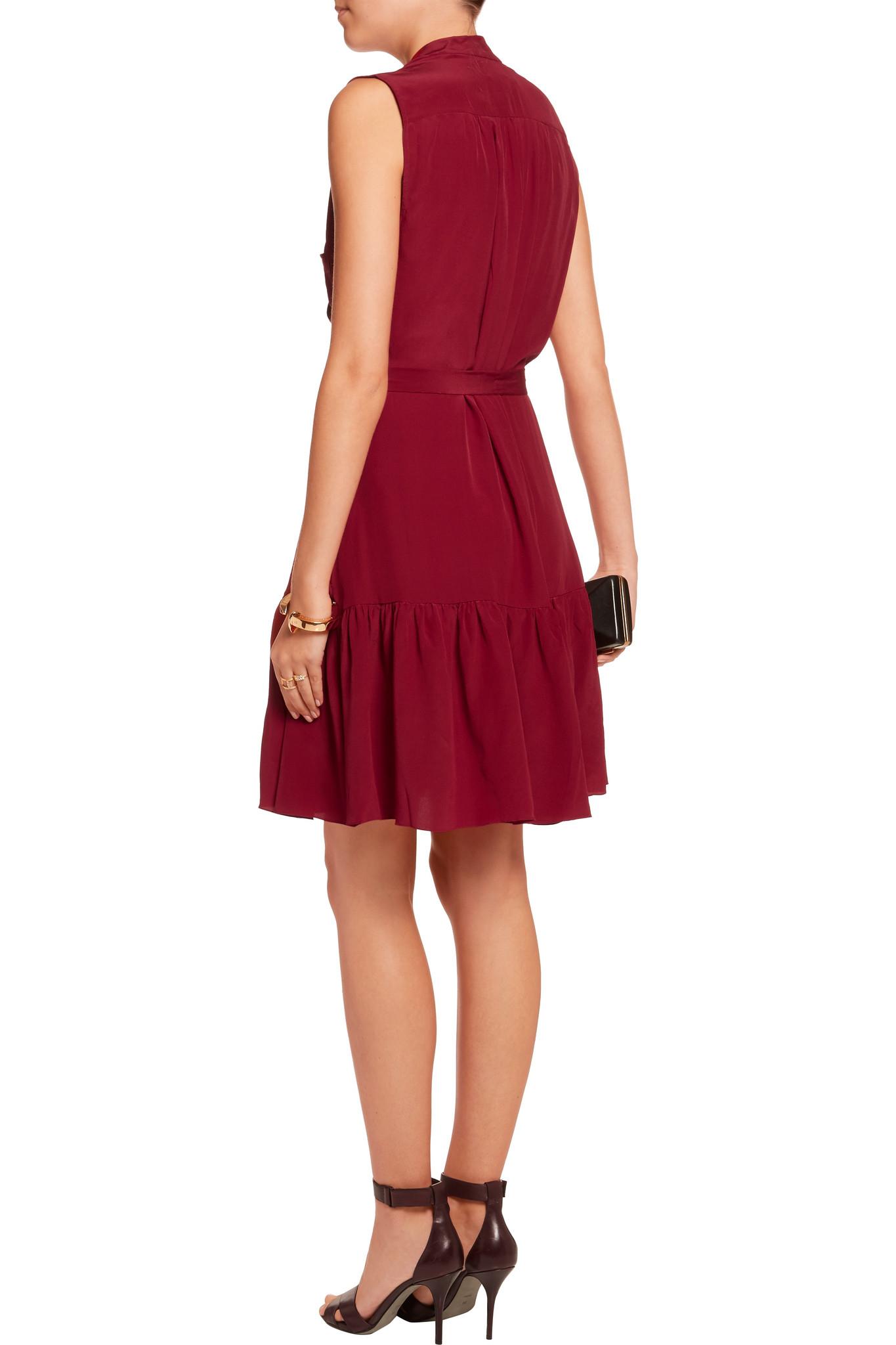 lyst saloni tilly silk crepe de chine dress in red. Black Bedroom Furniture Sets. Home Design Ideas