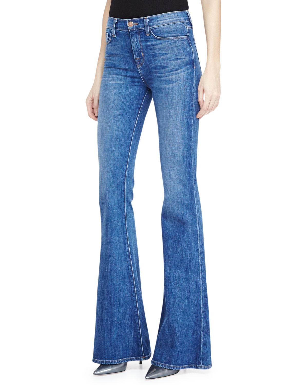 j brand valentina highrise flare jeans in blue sail lyst. Black Bedroom Furniture Sets. Home Design Ideas
