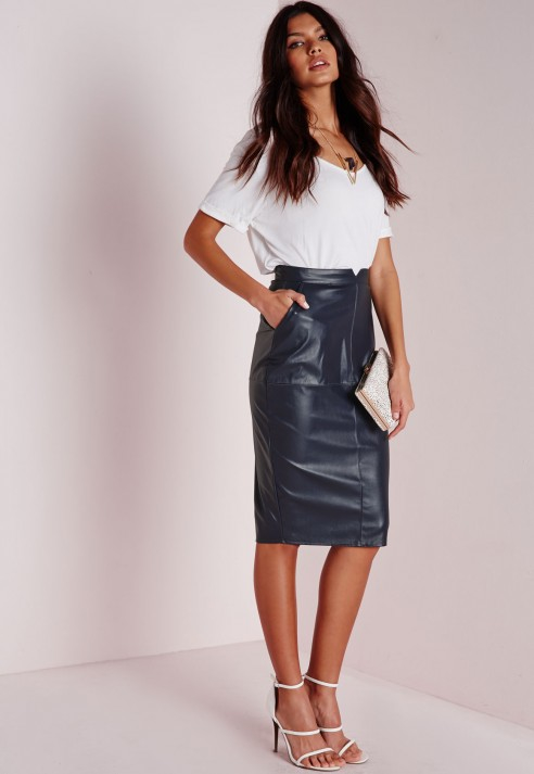 Missguided Back Split Faux Leather Midi Skirt Navy in Blue | Lyst