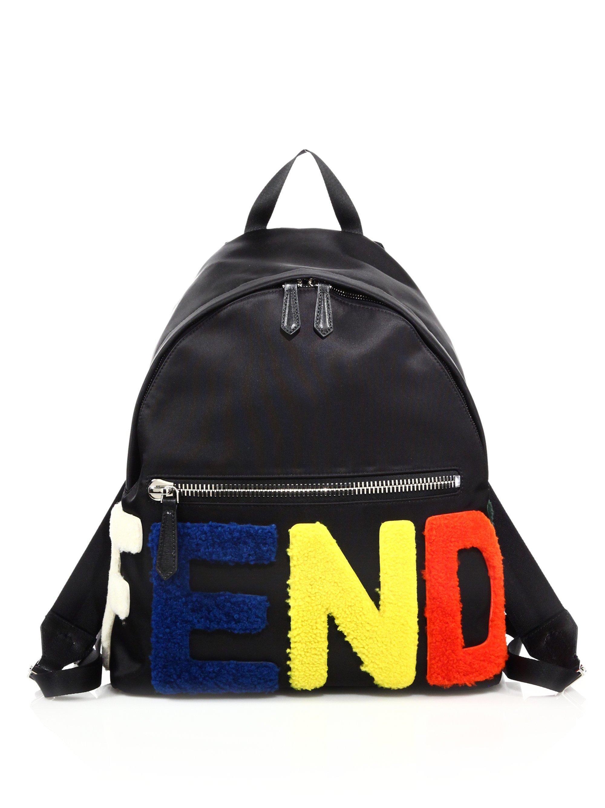 e30ab9eb0168 Lyst - Fendi Block Letter Backpack in Black for Men