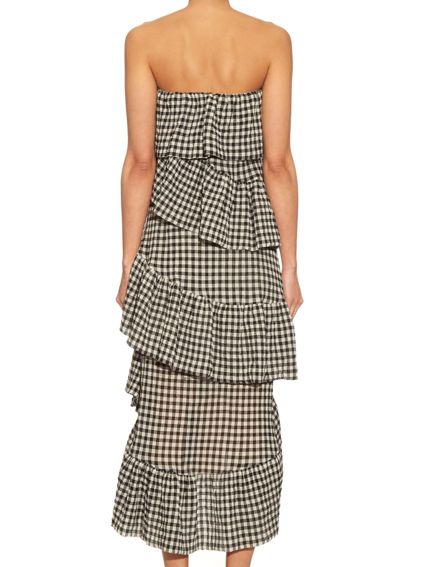 Isa arfen Ruffled Cotton-blend Strapless Dress in Black | Lyst