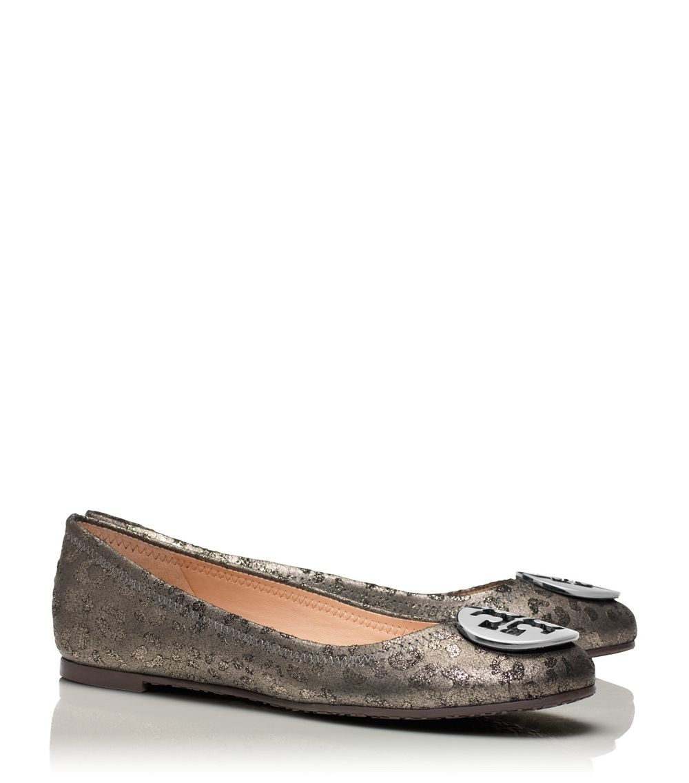tory burch reva ballet flat in gray anthracite anthracite. Black Bedroom Furniture Sets. Home Design Ideas