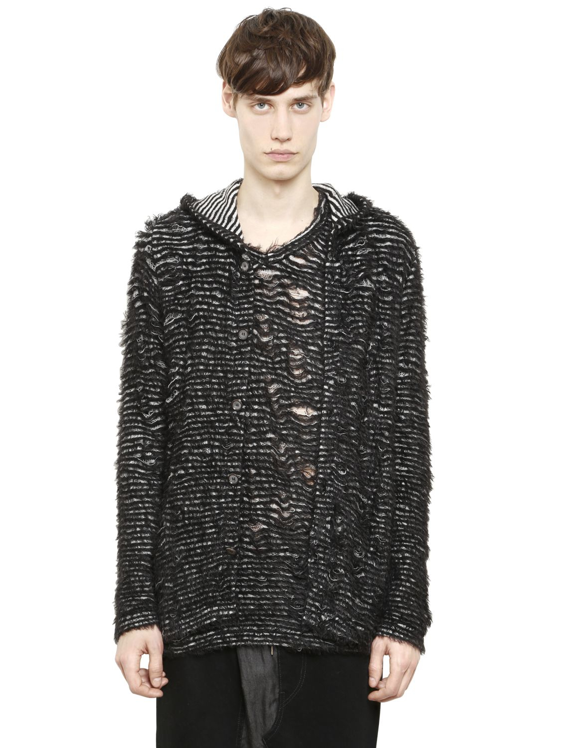 Miharayasuhiro Hooded Destroyed Cotton Jersey Cardigan in Black ...
