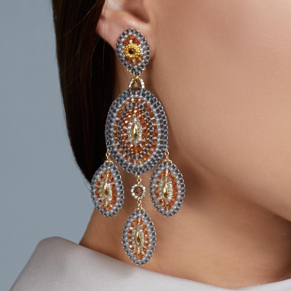 Lyst miguel ases topaz quartz chandelier earrings in orange gallery mozeypictures Gallery