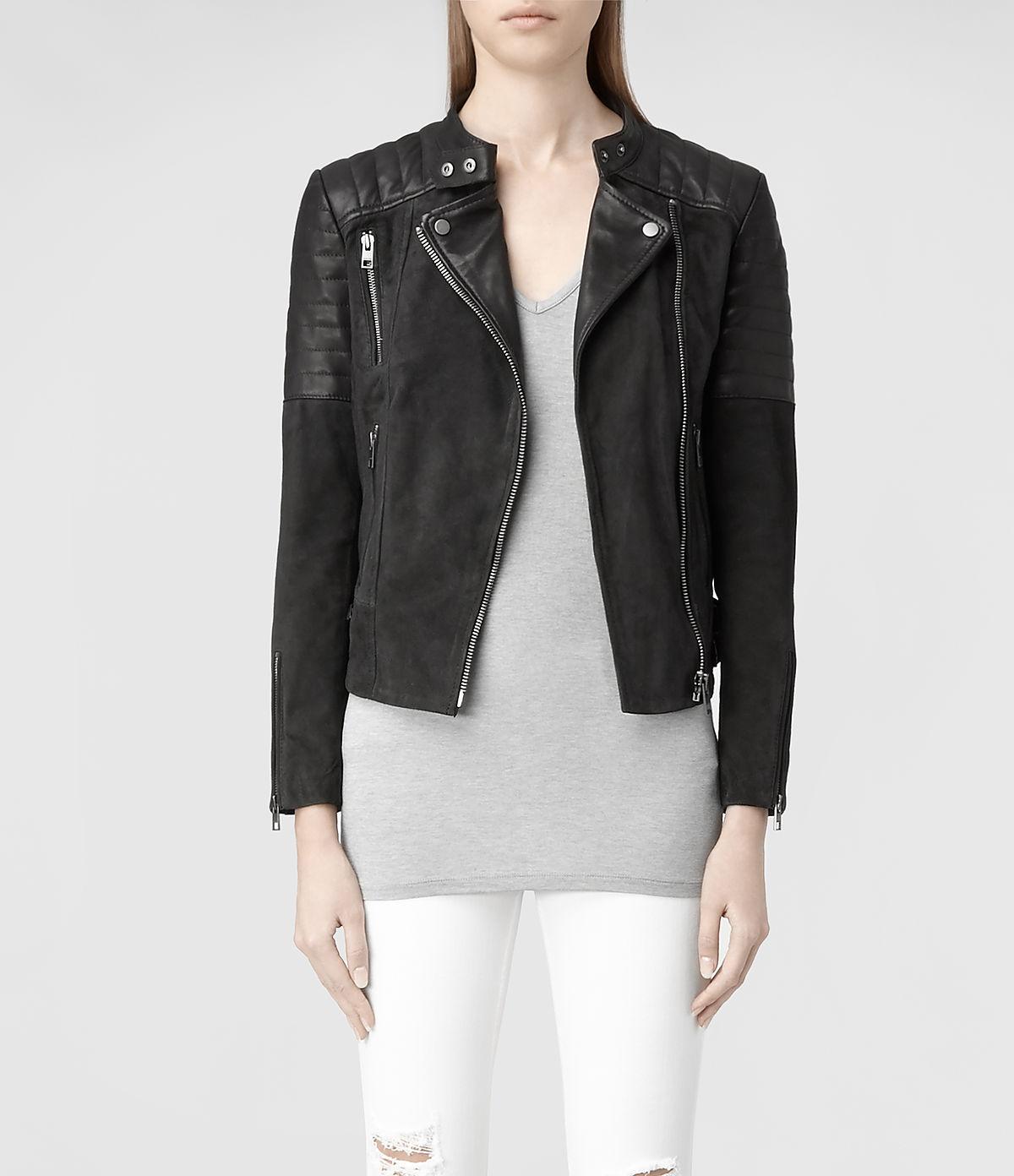 lyst allsaints ferris leather biker jacket in black. Black Bedroom Furniture Sets. Home Design Ideas