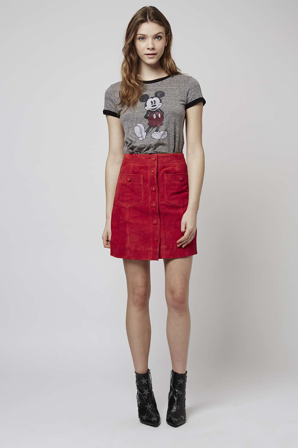 Topshop Tall Button Suede Skirt in Red | Lyst