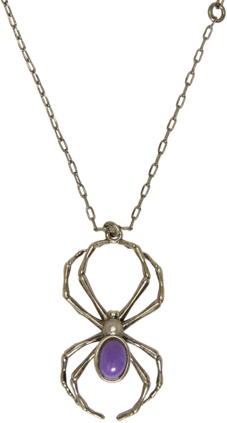 Relatively Lyst - Lanvin Gunmetal & Purple Spider Necklace in Metallic GD71