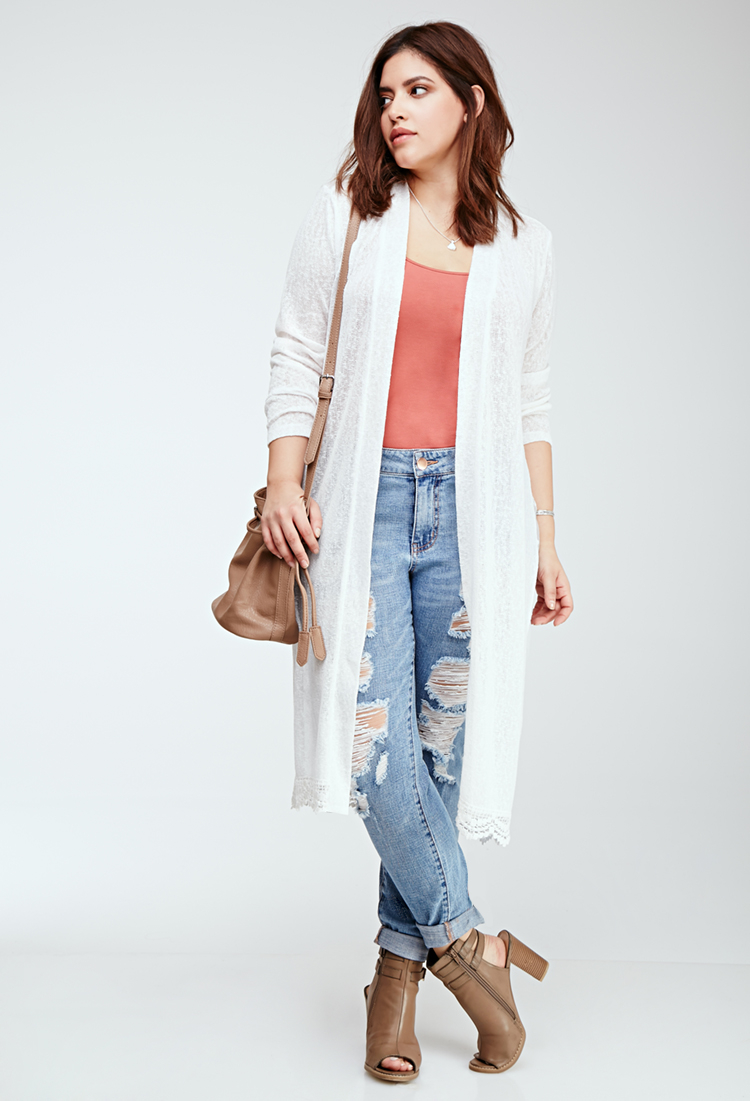 Forever 21 Plus Size Embroidered Lace-paneled Longline Cardigan ...