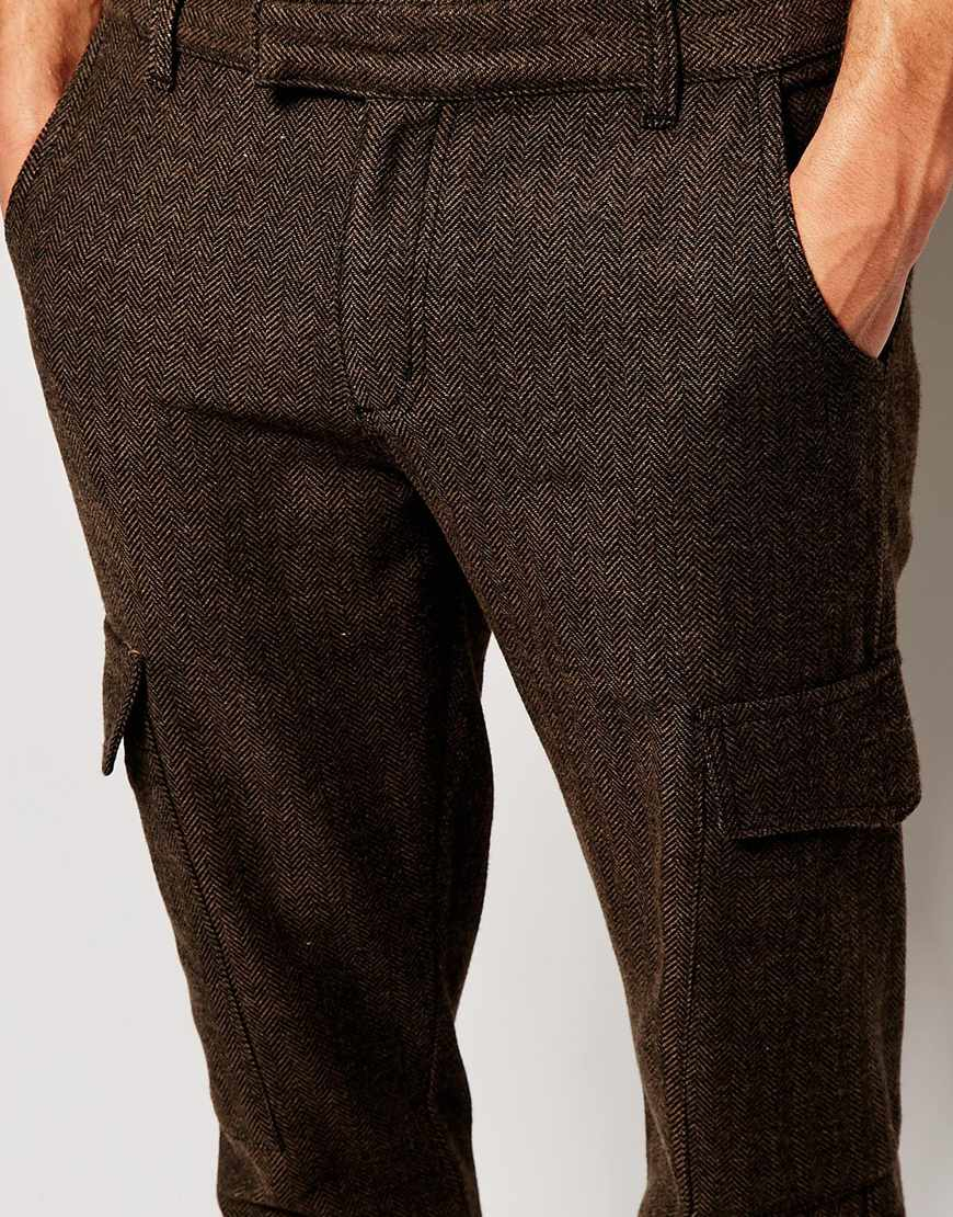 2104cab0b5 ASOS Skinny Trousers In Herringbone Cargo Style in Brown for Men - Lyst