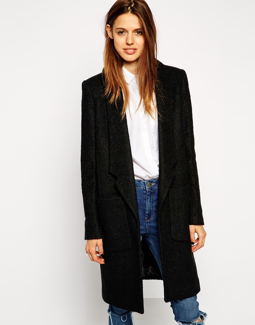 Asos Coat With Drop Collar In Textured Wool in Black | Lyst