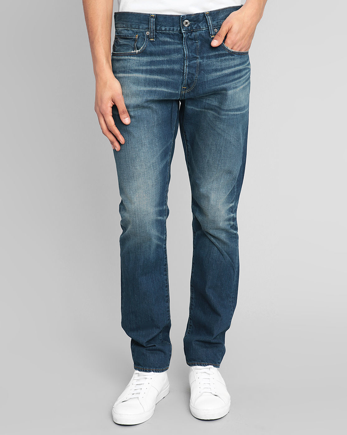g star raw washed 3301 tapered blue jeans in blue for men. Black Bedroom Furniture Sets. Home Design Ideas