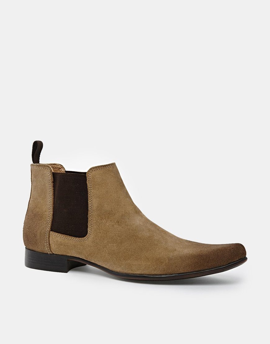 asos chelsea boots in suede in beige for lyst