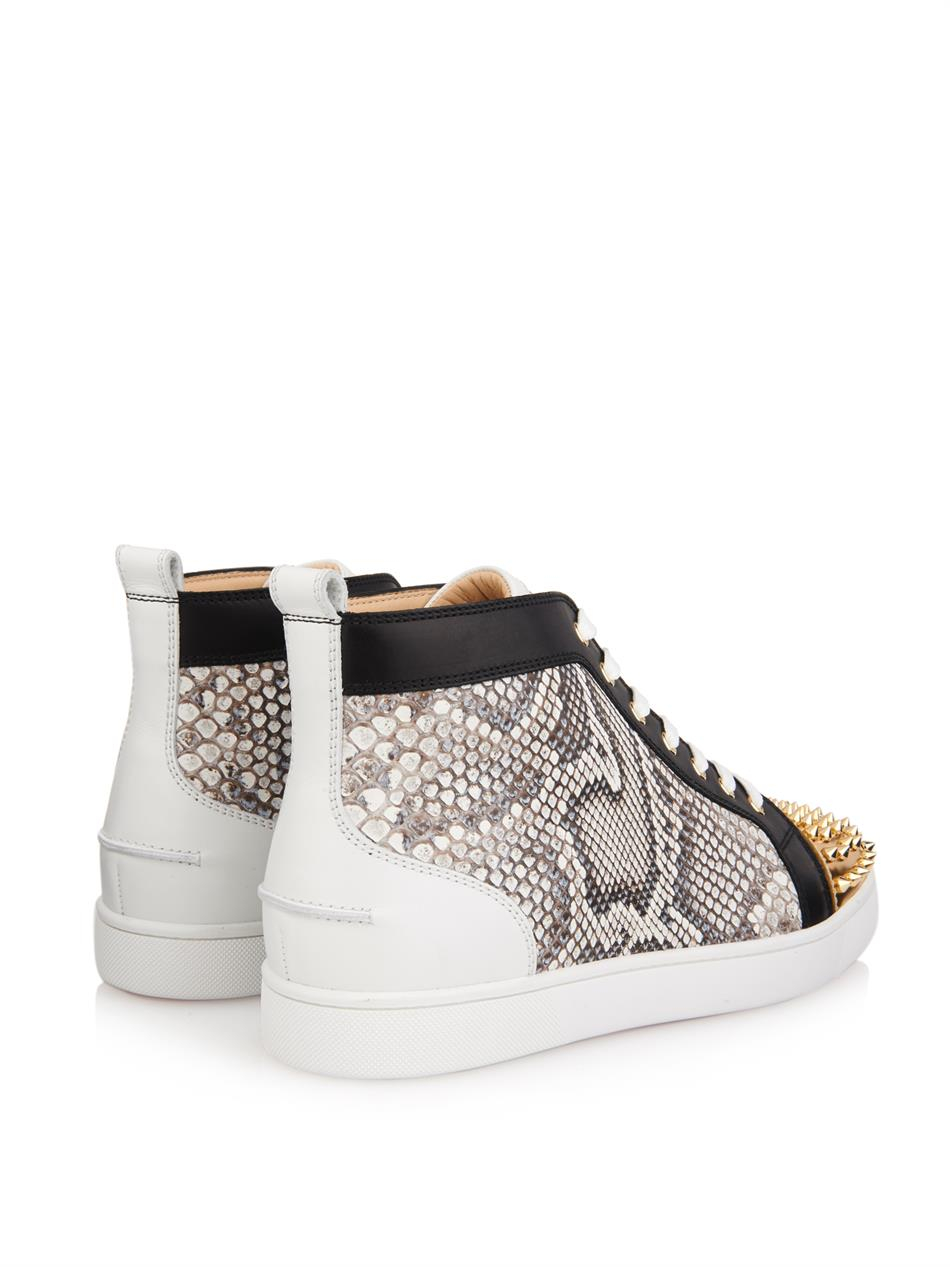 8dad603fb095 ... get lyst christian louboutin lou python and leather high top sneakers  1ed91 2fe52