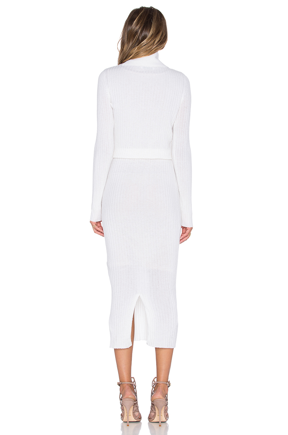 c4d3cf7a36 Lyst - Alice + Olivia Hailee Ribbed Turtleneck Dress in Natural